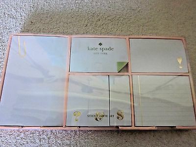 New In box Kate Spade New York Sticky Note Set, Gold- NEW