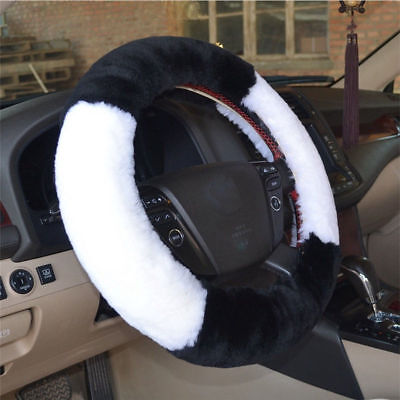 3Pcs 38mm Winter Plush Soft Australia Pure Wool Car SUV Steering Wheel Cover Set