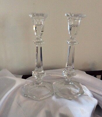 """Fine Pair Of Vintage Lead Crystal Candlesticks 10.25"""" Tall. Chippendale Style"""