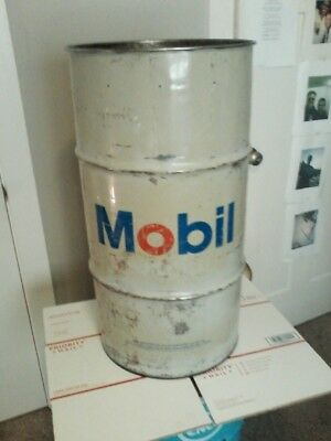 """MOBIL OIL DRUM BARREL 16 GALLON VINTAGE OIL CAN  MOBIL GRAPHIC ON 2 SIDE 27""""x14"""""""