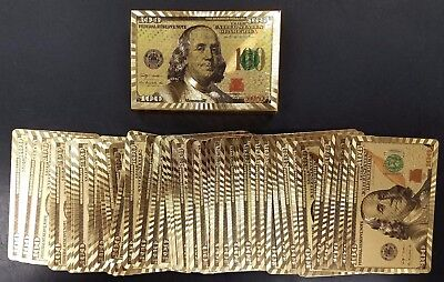 Deck of $100 design, gold foil, plastic coated playing cards! USA Seller!