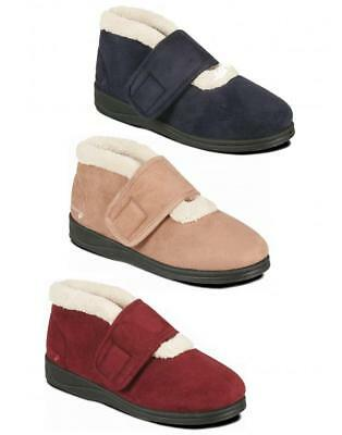 Padders SILENT Ladies Womens Microsuede Comfy Extra Wide (EE) Fit Boots Slippers