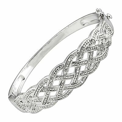 Woven Bangle Bracelet with Diamonds in Rhodium-Plated Brass