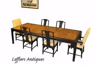 Asian Style Black Laquer Dining Room Table And Six Chairs Burled Top 112""