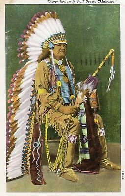 OSAGE INDIAN IN FULL DRESS  OKLAHOMA  linen card - postally used 1950