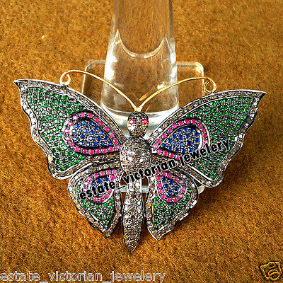 Estate Vintage 3.20Cts Rose Cut Diamond Gemstone Silver Butterfly Brooch Jewelry