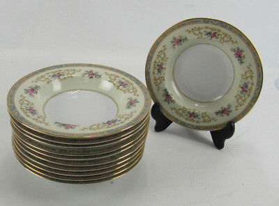 11 Noritake China Colby Blue 5032 Rimmed Soup Bowls