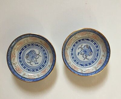 Vintage Chinese Rice Bowl Plate Blue Exquisite Design With Gold Edge