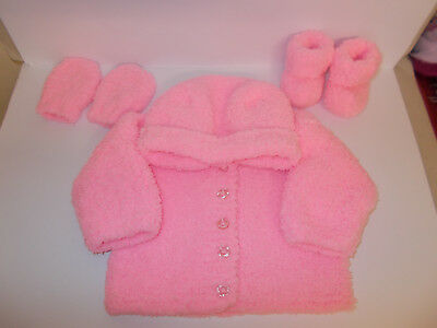 Hand Knitted Baby Jacket Hooded Cardigan Mittens Booties Pink 0-3 Mnths Soft