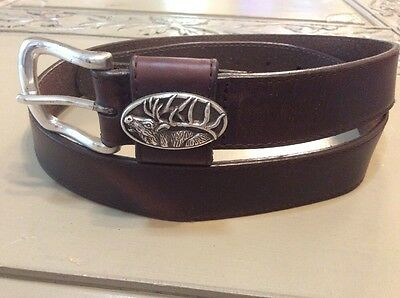 Men's Ducks Unlimited Oil Tanned Leather With Deer Hunting Conchos 36 R