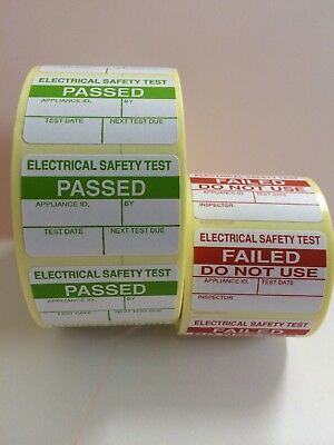 PAT Test Labels 1000 Electrical PASSED Labels Stickers + 100 Free FAILED