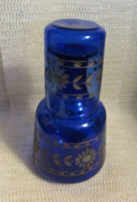 """Antique Italian.. 8"""" Cobalt Blue Glass Tumble Up Night Time Water Beverage Set"""