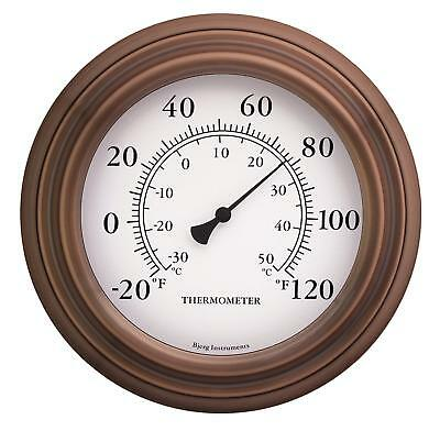 "8"" Antique Copper Finish Decorative Indoor / Outdoor Thermometer"