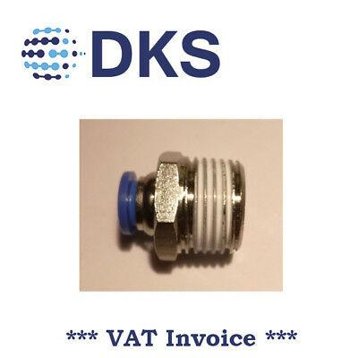 Male Stud Push In Fit Pneumatic Fittings Air 1/2 BSPT to 8mm Fitting  000563