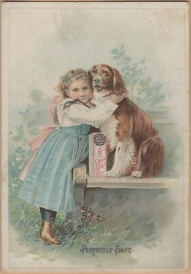 Victorian Trade Card-Dr Seth Arnold's Cough Killer-Woonsocket, RI-Girl & Dog