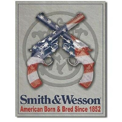 Smith and Wesson American Born and Bred Handgun Retro Vintage Metal Tin Sign New