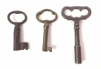 SKELETON KEY LOT of 3 Small Barrel Trunk Clock Wind Cabinet Antique Brass Metal