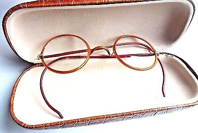 Vtg Round Wire Frame Eye Glasses Spectacles Frames Prescription RX Lens Brown