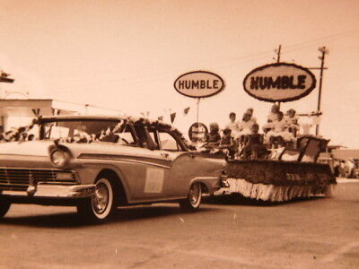 Original 1950's-60's era photograph of Texas parade with huge HUMBLE Oil Signs