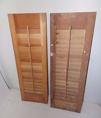 "Vtg Antique Wood Louver Window Shutters 24"" Tall by 8"" Wide each"