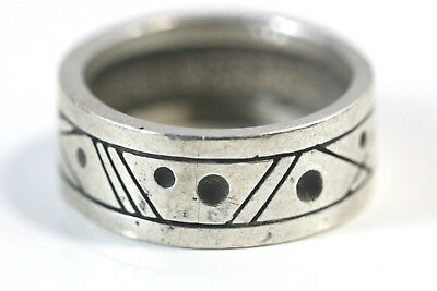"D289 Band Ring Sterling 6.3g 925 3/8"" wide size 7 1/2"