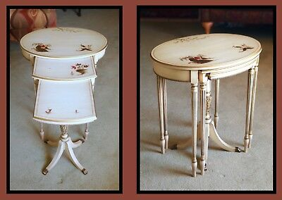 Antique French Provincial Duncan Phyfe Nesting Tables Original Paint Imperial Co