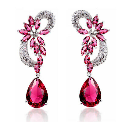 5ct CZ dangle drop Earrings Cubic Zirconia simulated ruby sapphire emerald gift