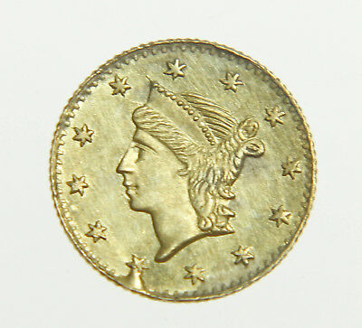 No Date Liberty Head California Fractional Gold Round 1/4 Dollar Coin ...WOW!!