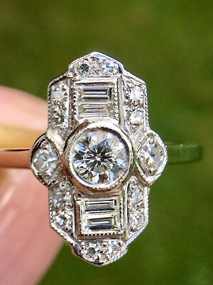 Beautiful ART DECO Design DIAMOND 1ct Ring 18ct White Gold - A REAL DAZZLER!!