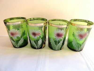 Set Of Four Victorian Antique Green Depression Glass Enameled Drinking Glasses