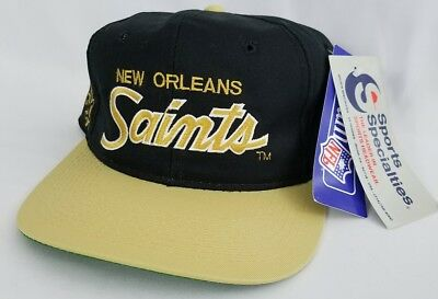 hot sale online c45af f5851 NWT Vtg New Orleans Saints Sports Specialties Script Snapback Hat Cap The  Twill