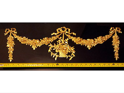 Large French Antique Louis Xvi Gold Gilt Resin Wall Door Moulding Decoration