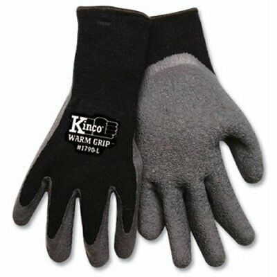 KINCO 1790-L Men's Warm Grip Thermal Lined Latex Coated Gloves Large Black/Gray