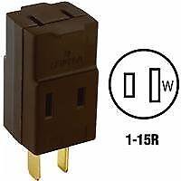 Leviton 531 15 Amp 125 Volt Non-Grounding Three Outlet Cube Adapter Brown