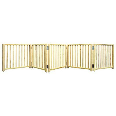 """Four Paws 5 Panel Free Standing Walk Over Wooden Dog Gate 48""""-110""""W by 17"""" H"""