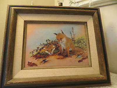 Vintage Print Two Baby Foxes Fox Brown Wood Frame By Rita Parsons