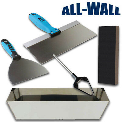 OX Tools Drywall Finishing Set w/ Mud Pan, Taping Knives, Mixer, Sanding Sponge