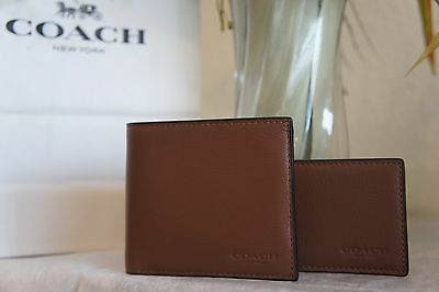 NWT COACH F74991 Men's Compact ID Sport Calf Leather Wallet Dark Saddle $175
