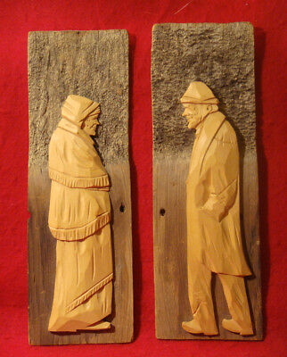 WOOD CARVING OLD MAN & WOMAN WALL PLAQUES from QUEBEC CANADA BARN BOARD UNSIGNED