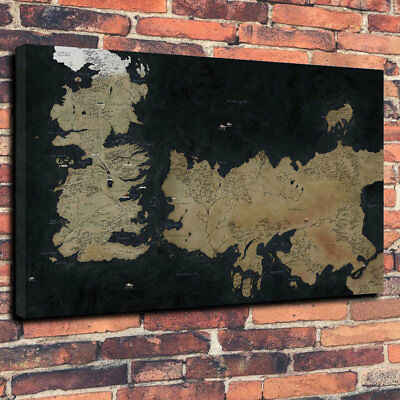 """Game Of Thrones The Known World Map Printed Canvas Picture A1.30""""x20"""" 30mm Deep"""