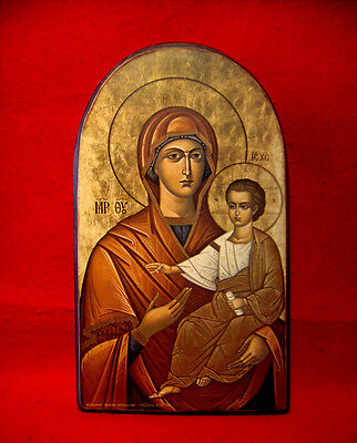 Orthodox Wood Icon Virgin Mary & Young Christ