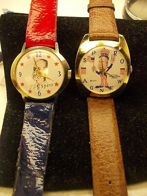 Lot Of ,two,1970's,political Character Watches,spiro T.agnew,both,excellent/work
