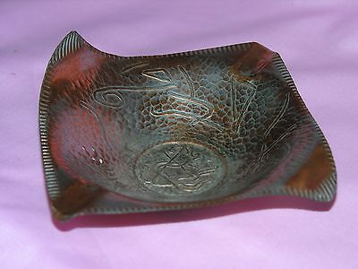 "Vintage Hand Made In Israel Copper Ashtray - 5"" x 5"""