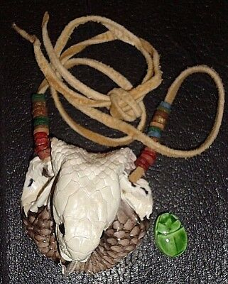 Egyptian God Uraeus,Real Cobra Head Neck Pouch w Scarab,Ancient Mummy Beads