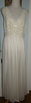 Vintage 2X Shadowline Nightgown Full Length Sexy Nightie Gown Ivory USA Made