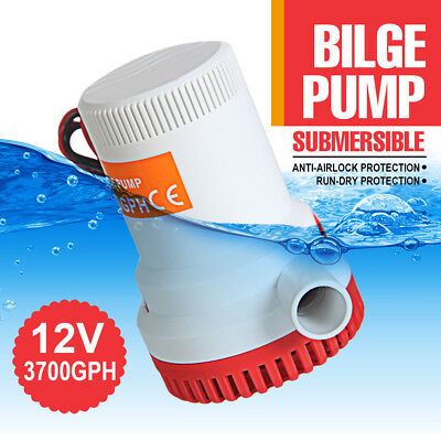 Heavy Duty 3700GPH 12V Electric Submersible Bilge Water Pump Marine Boat Caravan