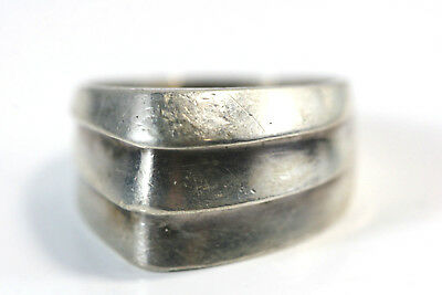 "D296 Modernist Chevron Sterling 6.5g Ring 1/2"" wide size 7 3/4"