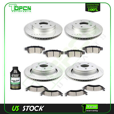 Front Rear Brake Rotors Ceramic Pads For 2011 2012 2013 2014 2015 2016 Ram 1500