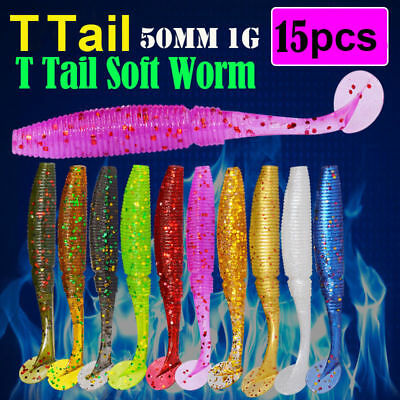 15pcs Minnow Curly Tail Lead Jig Head Fishing Lure Worm Barbed Hook Soft Bait