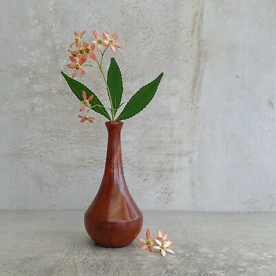 Retro Small Handcrafted Red Cedar Vase made in Australia Woodturned Woodgrain